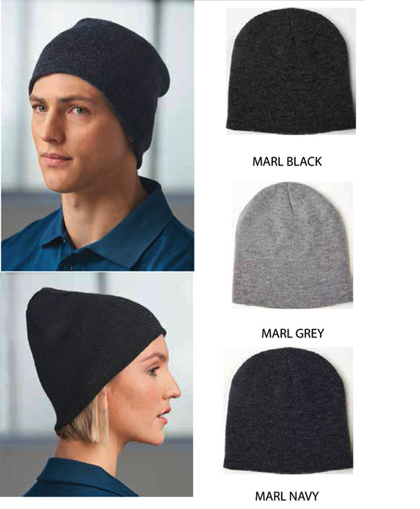 Beanies in Marle Grey, Marle Black, Marle Navy. Urban slouch styled #CH22 with double layer knit marle to keep you warm. Fantastic with logo embroidery, top value. Perfect for Outdoor Uniforms or Sport Clubs. Hand them out to your customers for years of promotion. Enquiry FreeCall 1800 654 990.