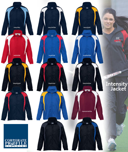 High performance Intensity Team Jackets #SJ in 14 popular colour combinations. Great fitting jacket will have your team looking professional and confident in your school or club colours. You will be impressed by the durable, protective Showerproof Nylon Taffeta outer shell and the comfortable full mesh lining on the inside. The Intensity Team Jacket features a vented back panel for added breathability. There is a hidden hood under collar. Also available in Youth and Ladies sizes. For all the details please call Shelley Morris or Leigh Gazzard on FreeCall 1800 654 990