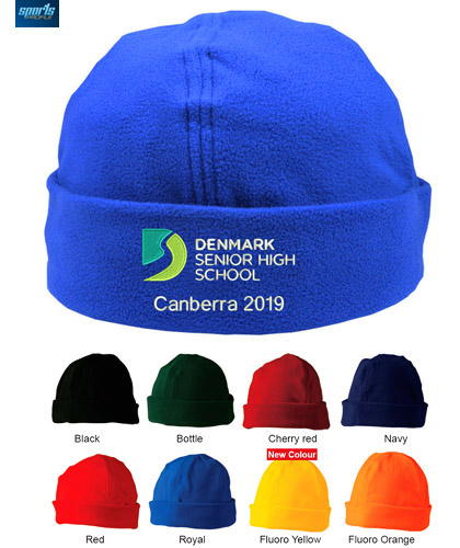 Fantastic for School Tours and Junior Sports VClubs. Polar Fleece Beanie #CH27 School Beanie With Logo Service, 8 colours includes Royal, Bottle Cherry Red, Navy, Red, Black, Fluoro Yellow and Fluoro Orange. Oustanding logo embroidery service. Rolls up for a better fit and warmth One Size Fits Most. Enquiries FreeCall 1800 654 990