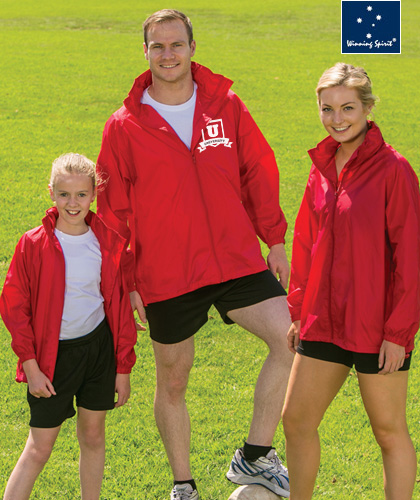 A Nylon Taffeta Waterproof Jacket in Kids and Adult Sizes. 4 popular Colours, Black, Navy, Royal and Red by Winning Spirit. For all the details please call Shelley Morris or Leigh Gazzard on FreeCall 1800 654 990.