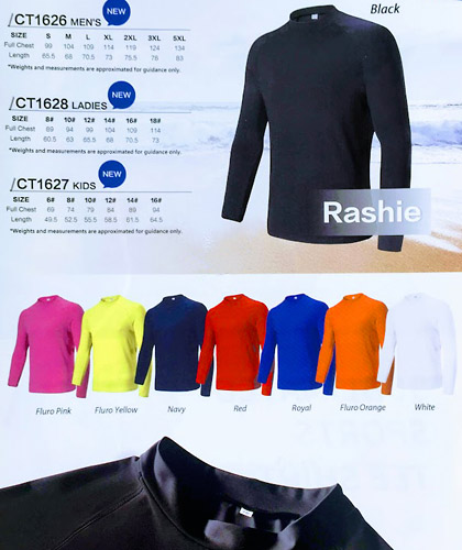 Rashies with print service available in 8 colours, White, Black, Navy, Red, Fluoro Yellow, Fluoro Orange, Fluoro Hot Pink. Long Sleeve in Mens, Womens and Kids styles. Bocini Sportswear available at Sports Profile on FreeCall 1800 654 990.