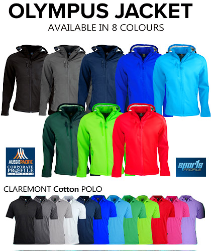 Outstanding Corporate Profile Mens #1513 and Womens #2513 Softshell jackets with beautiful  Logo Service. Company and Club Colours. Includes Red, Green, Cyan Blue, Royal, Navy, Black and Slate Grey. Top performance fabric, womens jacket has a shaped tail for added warmth. Includes a hood. Bonded fleece on the inside for snug warmth. WP3000 BP3000. Also available in Kids for long lasting School Uniforms and Junior Sports Clubs. Enquiries Free Call 1800 654 990