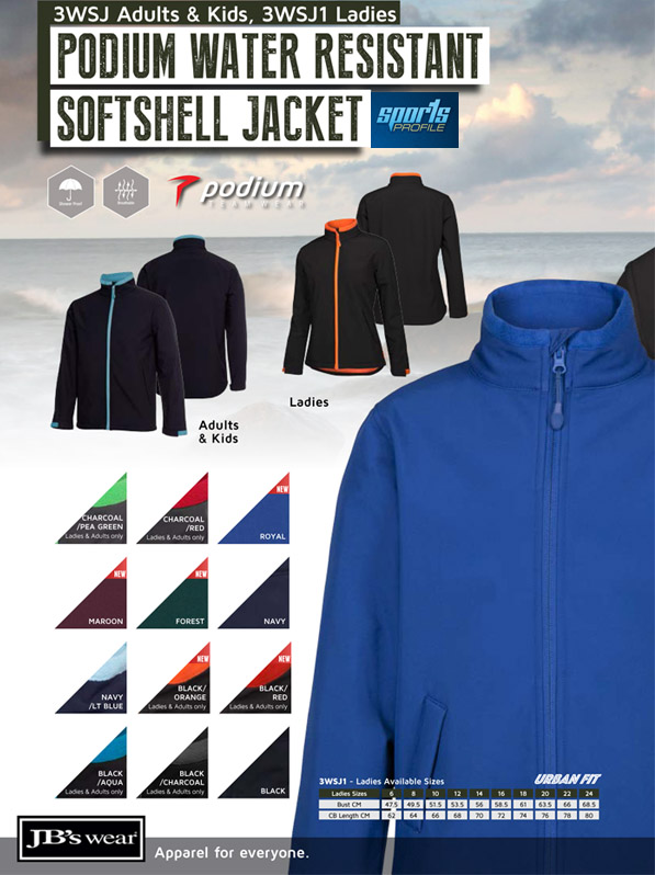 Outstanding value for company uniforms #3WSJ Softshell With Logo Service available in 4 Plain Colours and 5 Company Colour combinations. There's a large range of Sizes for Men, Women and Kids.and Kids. 3 Layer Bonded fabric 245 gsm. Waterproof rating 10,000mm and breathability 800mm. Warm bonded micro fleece on the inside. Changeable zip pullers available for Company, School and Club presentation. Sales FreeCall 1800 654 990