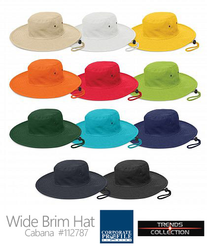 Sturdy wide brim sun hat in Team Colours #112787 -Cabana Hat With Logo Service, 10 Colours, heavy brushed cotton and is available in four sizes including a child's size. It features a sweat band, smart gunmetal eyelets and a woven chin strap which has a break away safety clip and a sliding adjustment toggle. Cabana offers UPF50+ Excellent Protection from the sun and complies with ASNZS 4399-1996 standard. Call Free 1800 654 990